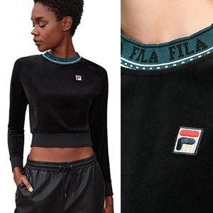 New FILA Dina Velour Crop Pullover Sweatshirt